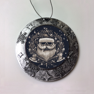 Santa Skull Blue Christmas Ornament