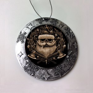 Santa Brown Skull Christmas Ornament
