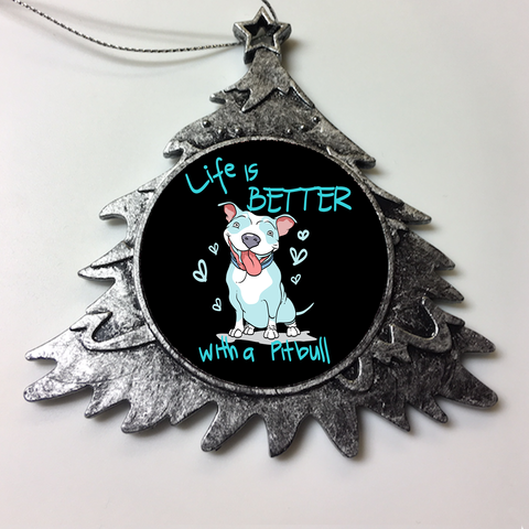Life Is Better With A Pit Bull Personalized Christmas Ornament