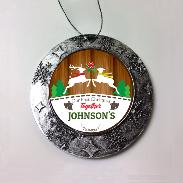 Personalized Buck And Doe First Christmas Together Ornament