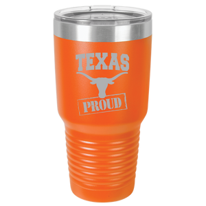 Texas Team Proud Polar Camel 30oz Ringneck Tumbler Laser Etched No Colored Art