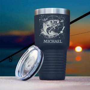 Personalized  Polar Camel 30 oz Ringneck Coffee Tumbler/ Fisherman Gift/ Father's Day/Groomsmen Fishing Laser Birthday Present