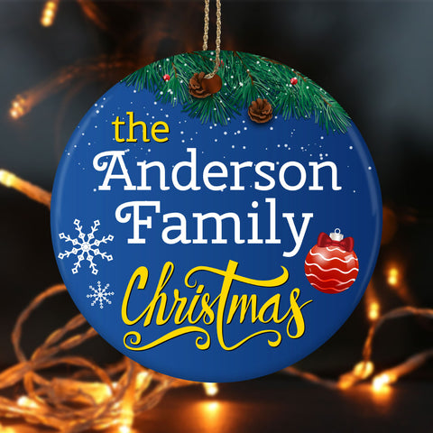 Personalize Family Christmas Ceramic Circle Ornament