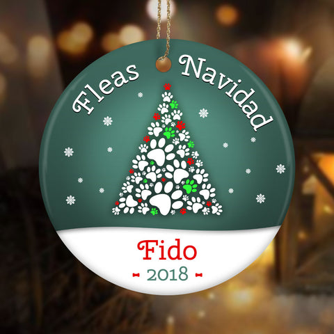 Personalize Fleas Navida Ceramic Circle Ornament