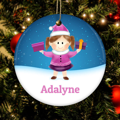Personalize Girl Name Ceramic Circle Ornament