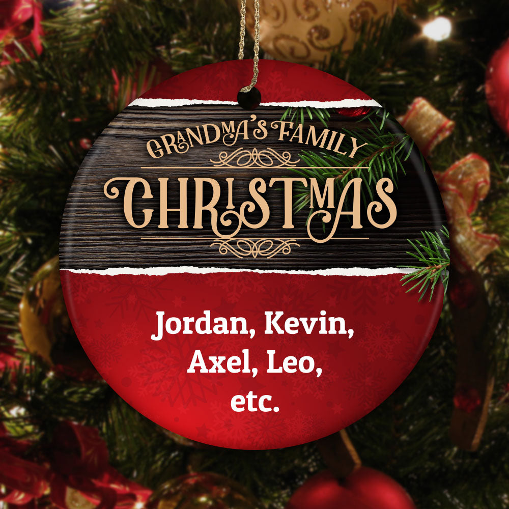 Personalized Grandma's Family Christmas Ceramic Circle Ornament