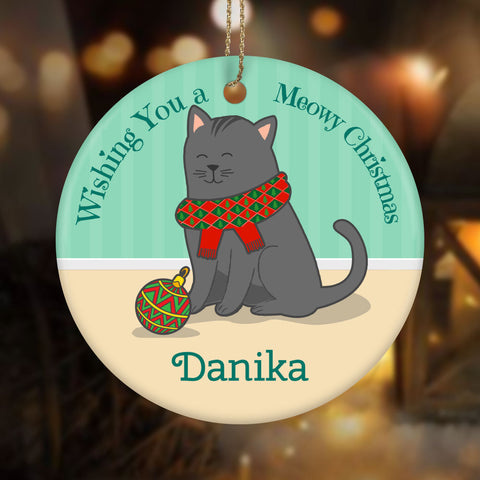Personalized Meowy Christmas Ceramic Circle Ornament