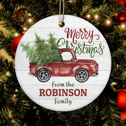 Personalized Merry Christmas Trucking Ceramic Circle Ornament