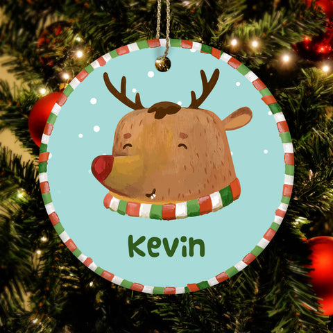 Personalized Reindeer Name Ceramic Circle Ornament