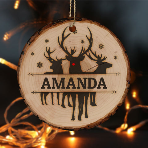 Personalized Tree Slice Rudolph Ceramic Circle Ornament