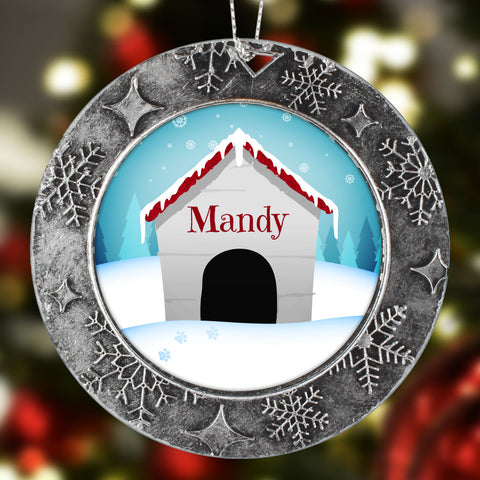 Personalized Dog House Christmas Ornament