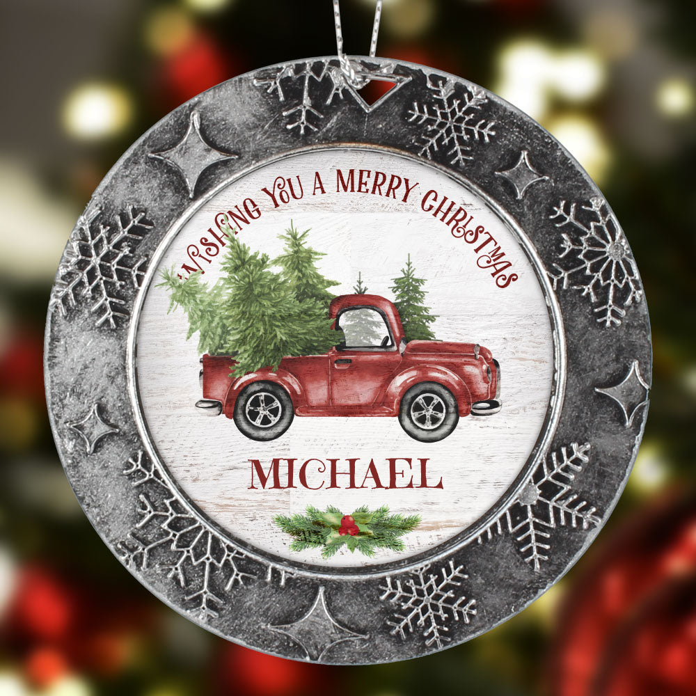 Personalized Merry Christmas Truck Name Ornament