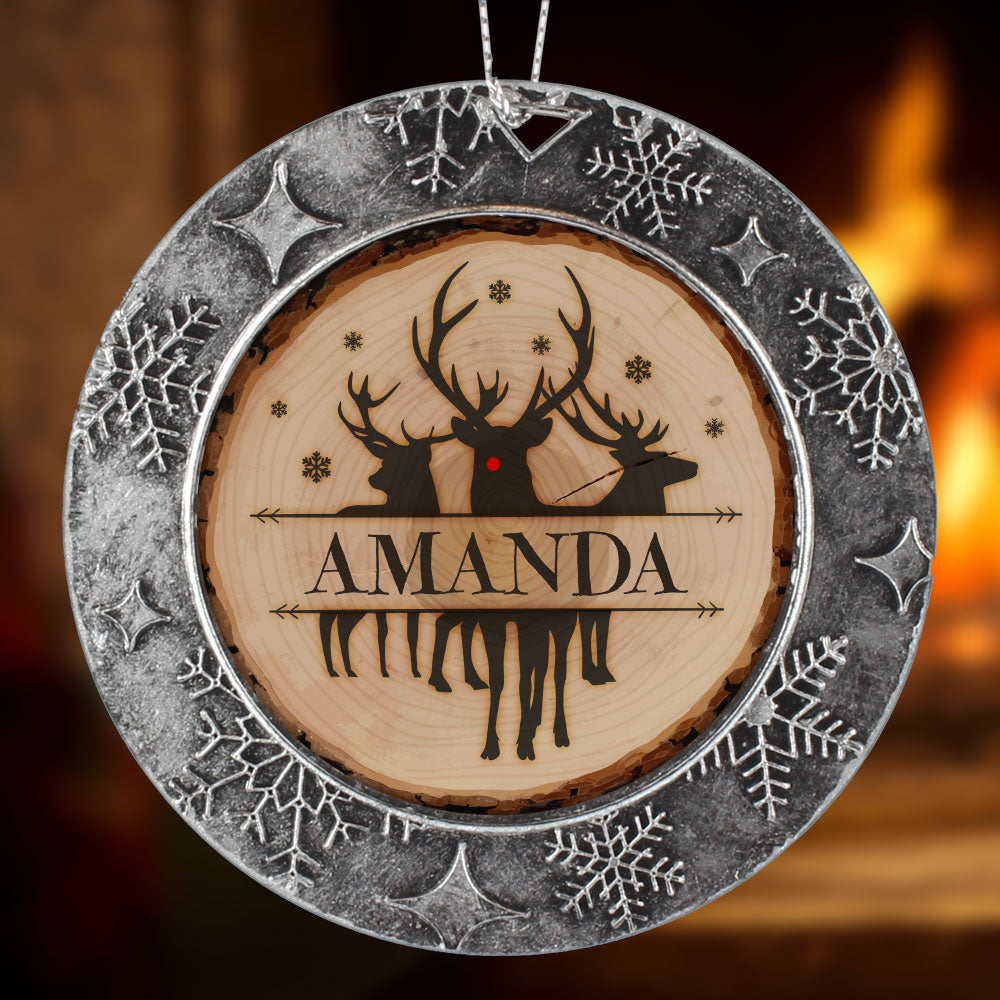 Personalized Tree Sliced Rudolph Christmas Ornament