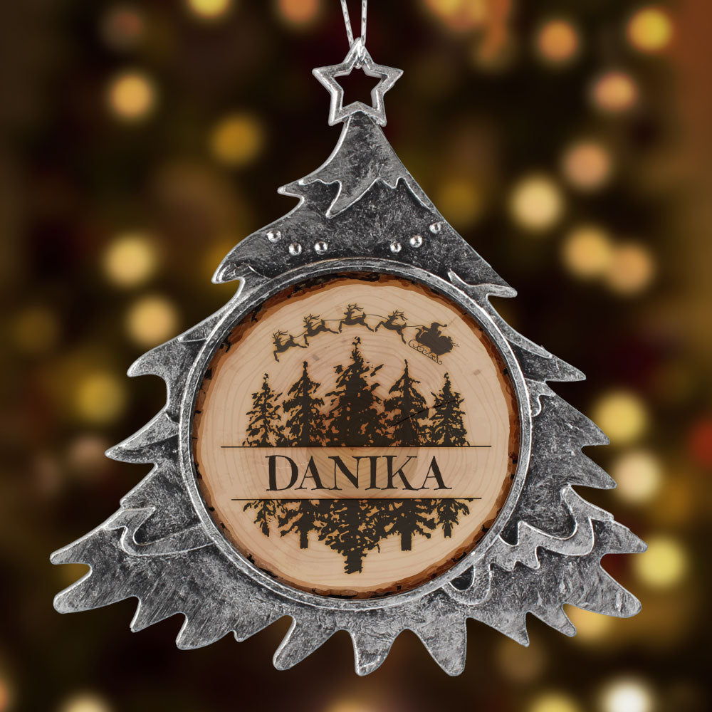 Personalized Tree Sliced Trees Christmas Ornament