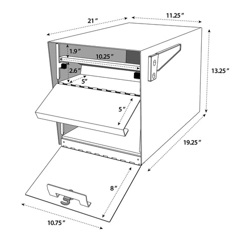 Mail Boss Curbside Mailbox Specifications and Dimensions