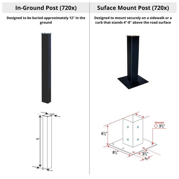 MailBoss In Ground and Surface  Mount Posts side by side