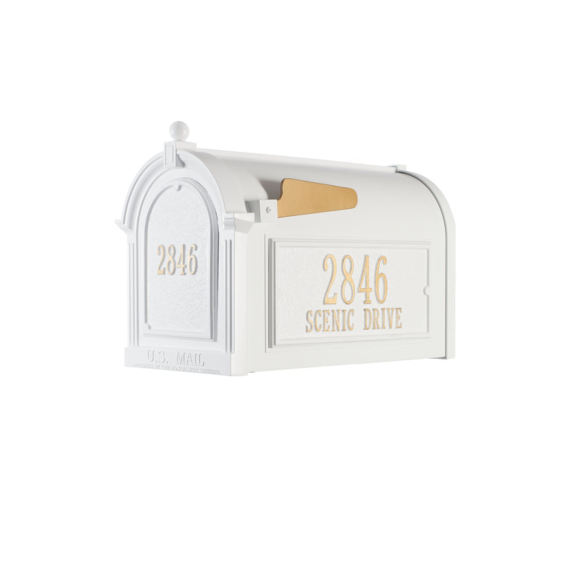 Whitehall Capitol Mailbox Custom Side Plaques and Door Plaque Package - MailboxEmpire