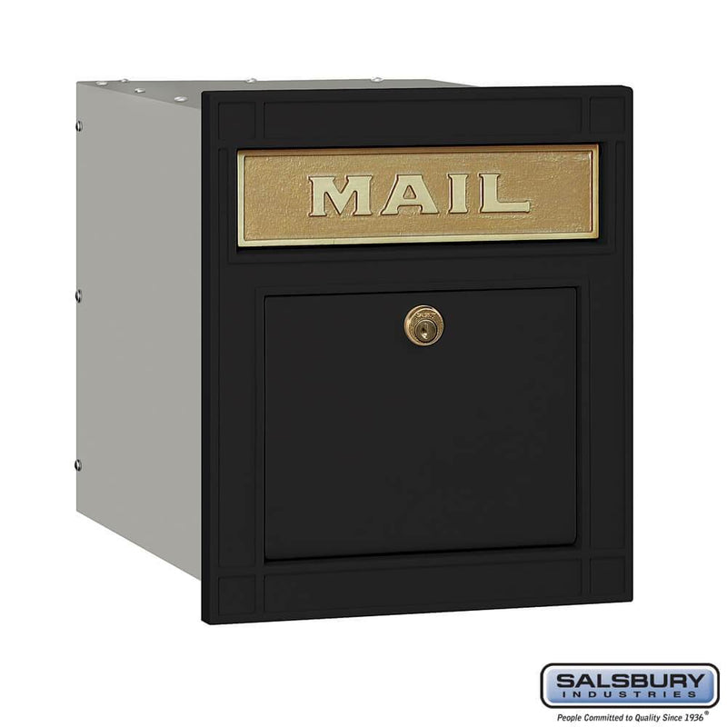 Cast Aluminum Column Mailbox - Locking - Plain Door  - Black