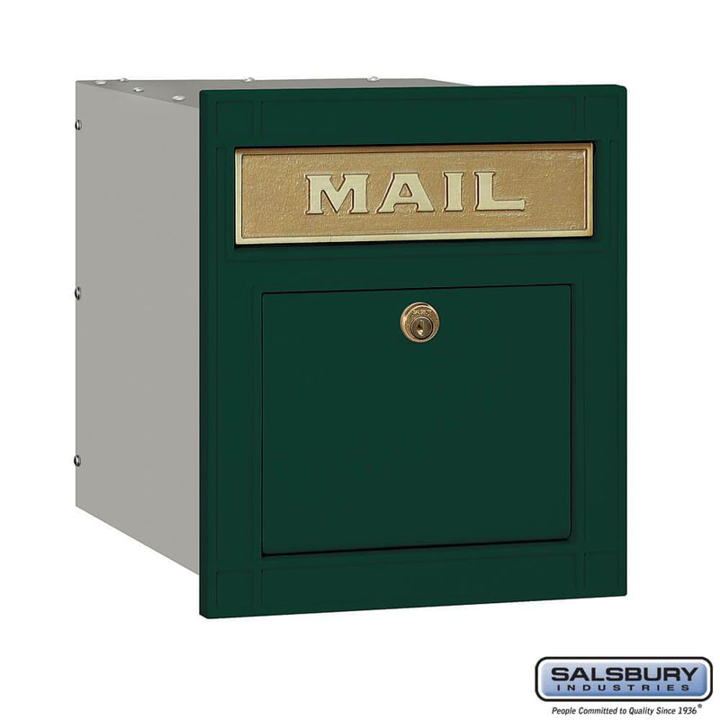 Cast Aluminum Column Mailbox - Locking - Plain Door  - Green