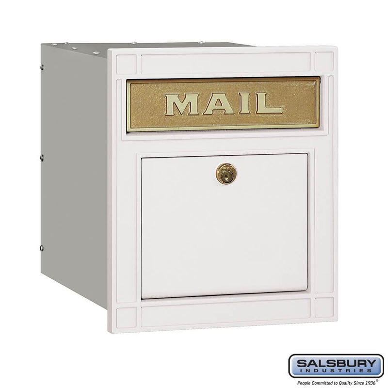Cast Aluminum Column Mailbox - Locking - Plain Door  - White