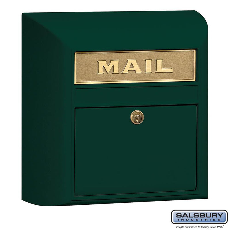Modern Mailbox - Plain Door  - Green
