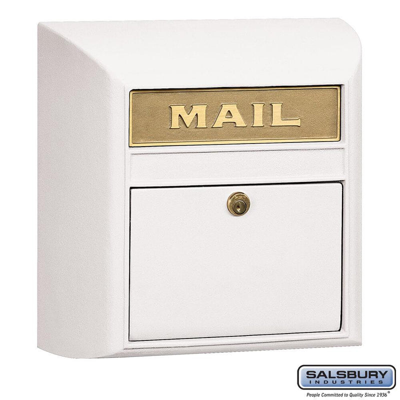 Modern Mailbox - Plain Door  - White