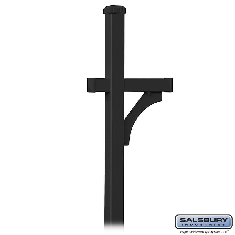 Deluxe Post - 1 Sided - In-Ground Mounted - for Roadside Mailbox  - Black