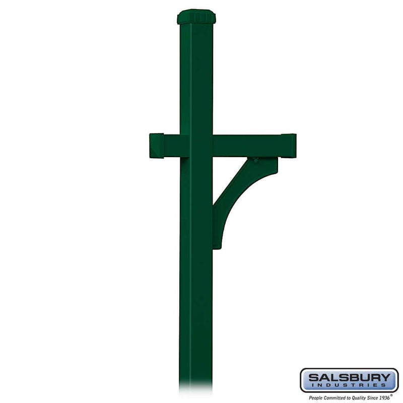 Deluxe Post - 1 Sided - In-Ground Mounted - for Roadside Mailbox  - Green