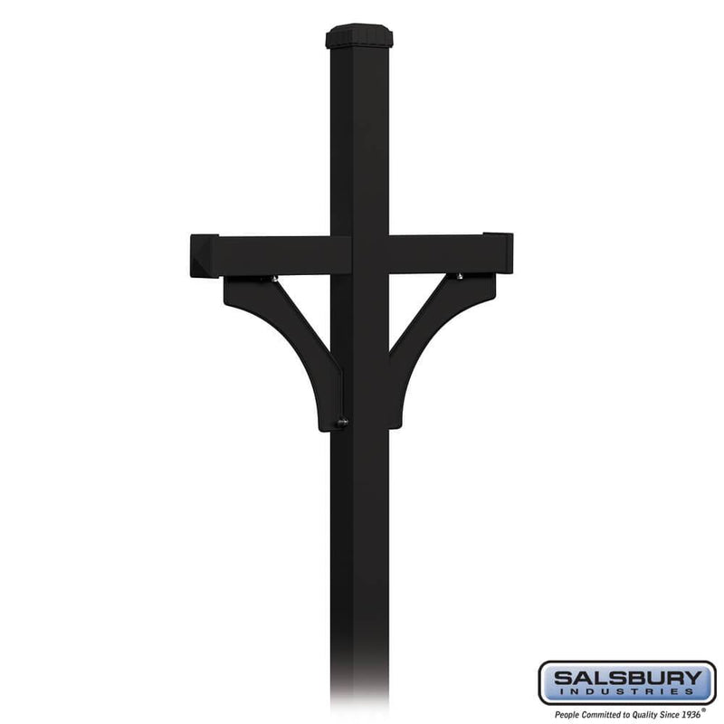 Deluxe Post - 2 Sided - In-Ground Mounted - for Roadside Mailboxes  - Black