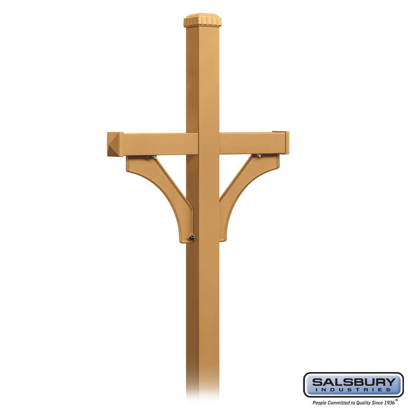 Deluxe Post - 2 Sided - In-Ground Mounted - for Designer Roadside Mailboxes  - Brass
