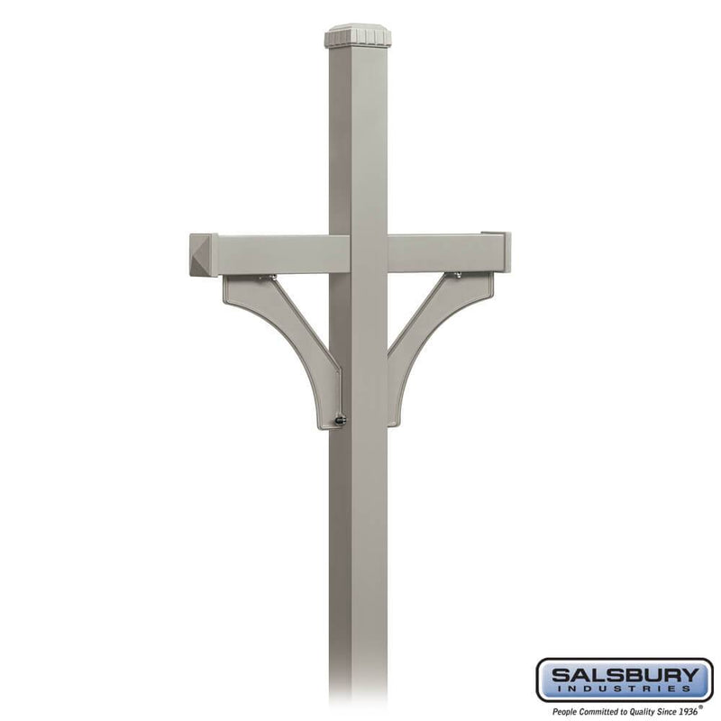Deluxe Post - 2 Sided - In-Ground Mounted - for Designer Roadside Mailboxes  - Nickel