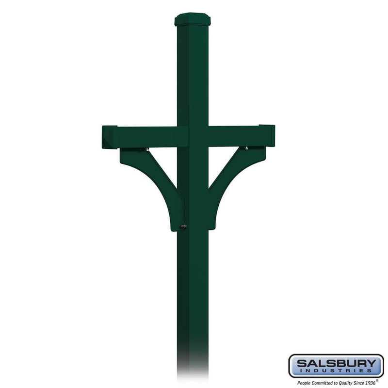 Deluxe Post - 2 Sided - In-Ground Mounted - for Roadside Mailboxes  - Green