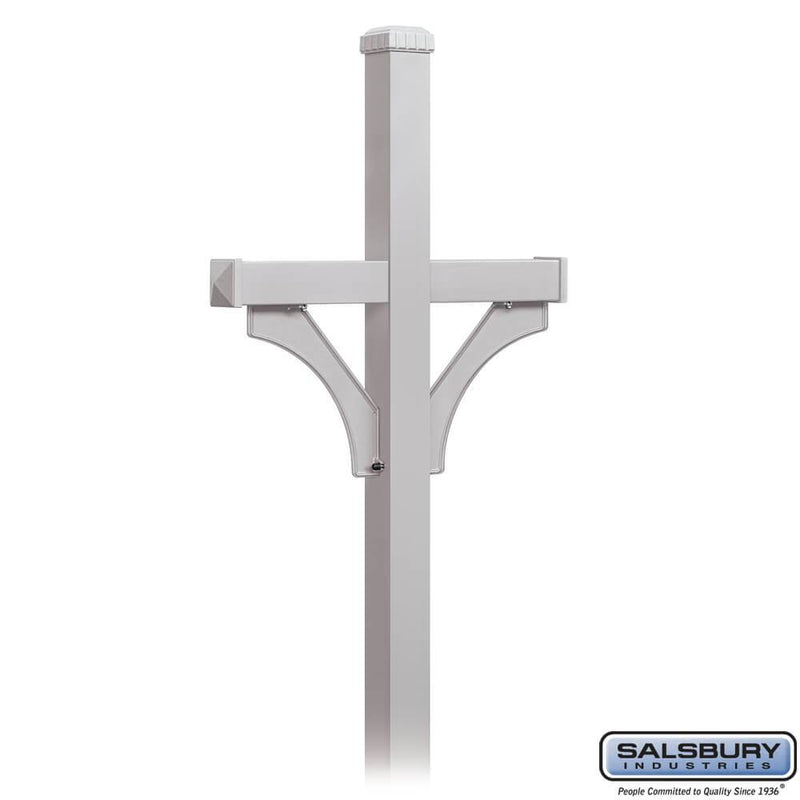 Deluxe Post - 2 Sided - In-Ground Mounted - for Roadside Mailboxes  - Silver