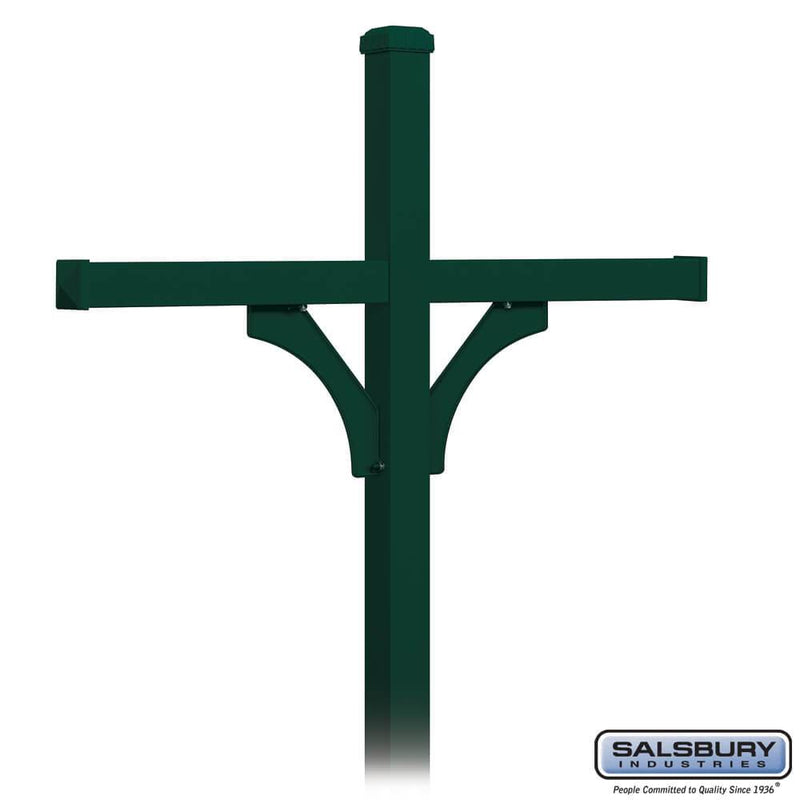 Deluxe Post - 2 Sided - In-Ground Mounted - for (4) Roadside Mailboxes  - Green