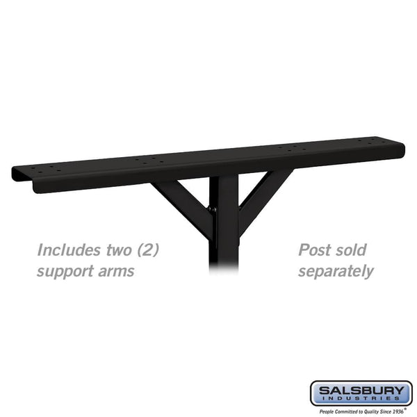 Spreader - 4 Wide with 2 Supporting Arms - for Roadside Mailboxes  - Black