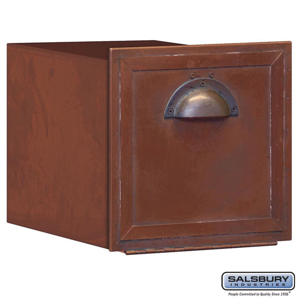 Antique Brass Column Mailbox - Recessed Mounted - Brass