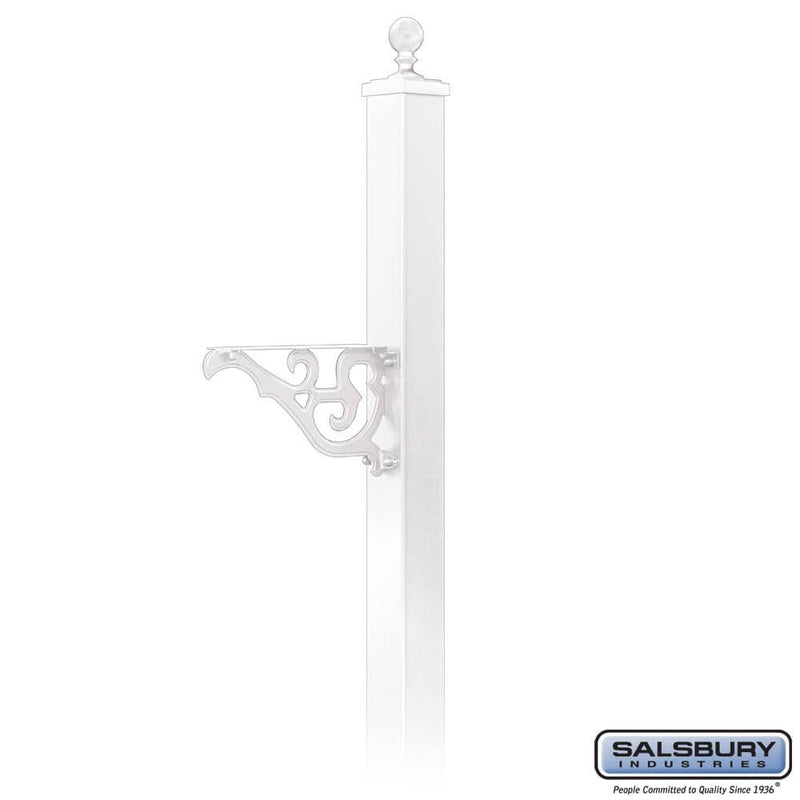 Decorative Mailbox Post - Victorian - In-Ground Mounted  - White