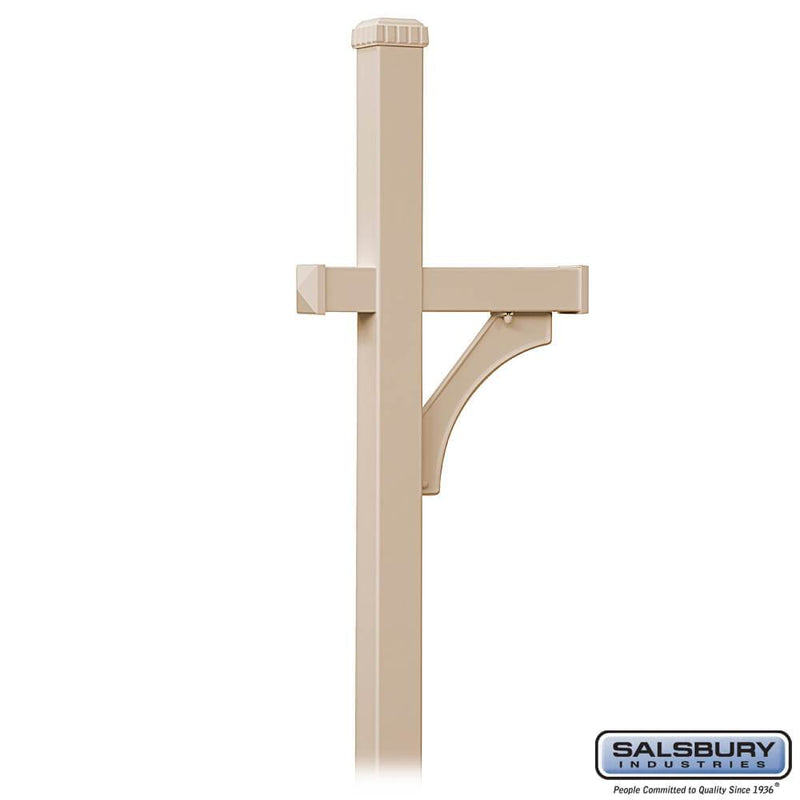 Deluxe Mailbox Post - 1 Sided - In-Ground Mounted  - Beige
