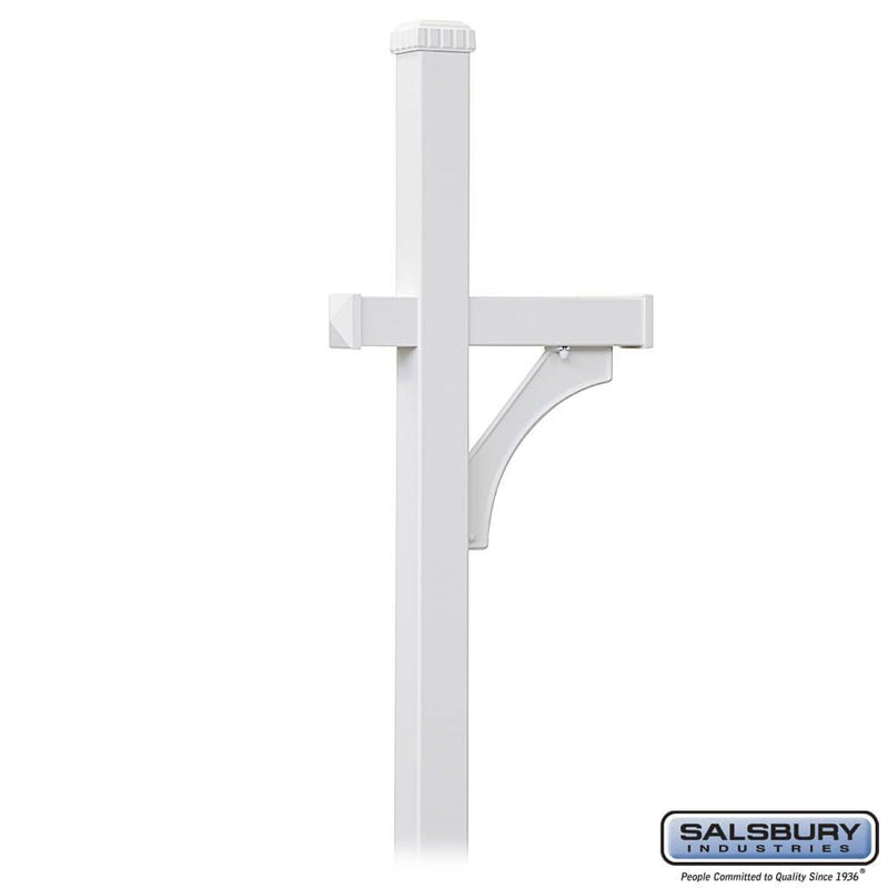 Deluxe Mailbox Post - 1 Sided - In-Ground Mounted  - White