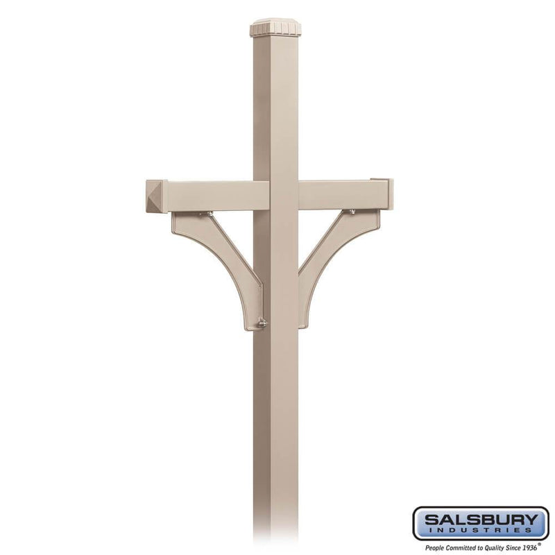 Deluxe Mailbox Post - 2 Sided for (2) Mailboxes - In-Ground Mounted  - Beige