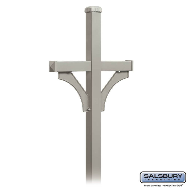 Deluxe Mailbox Post - 2 Sided for (2) Mailboxes - In-Ground Mounted  - Nickel