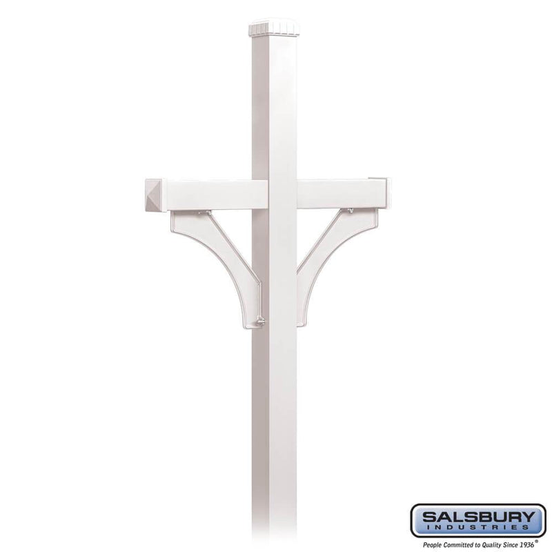 Deluxe Mailbox Post - 2 Sided for (2) Mailboxes - In-Ground Mounted  - White
