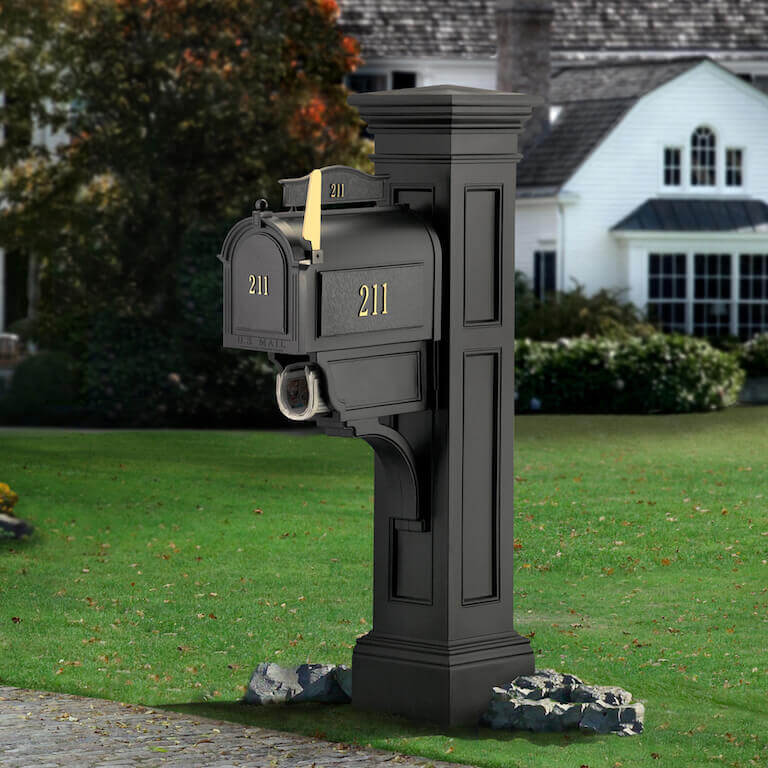 Mayne Liberty Mail Post & Personalized Custom Streetside Mailbox Package