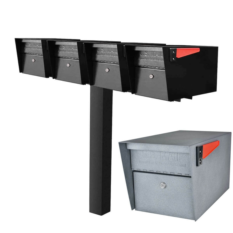 Mail Boss Quadruple Mail Manager Locking Mailbox & Post