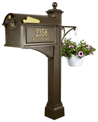 Whitehall Balmoral Mailbox and Post Package with Monogram, Side Plaques, Ball Finial and Plant Hanger - MailboxEmpire