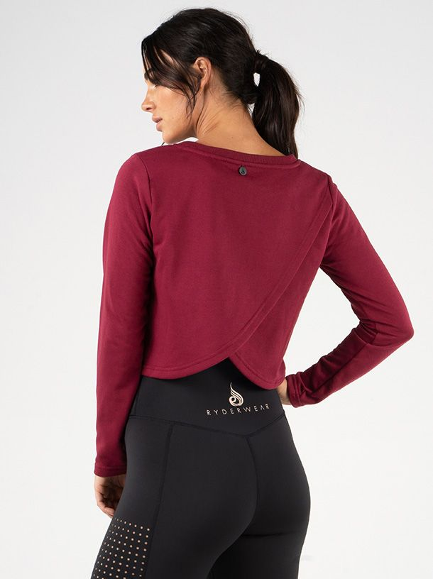 RYDERWEAR EASE CROPPED SWEATER BURGUNDY - ExtremeNutritionSA