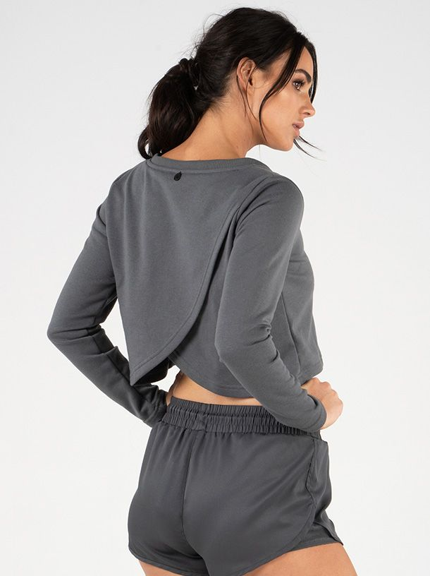 RYDERWEAR EASE CROPPED SWEATER CHARCOAL - ExtremeNutritionSA