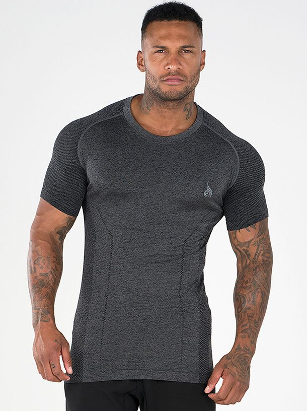 RYDERWEAR SEAMLESS T-SHIRT CHARCOAL MARLE - ExtremeNutritionSA