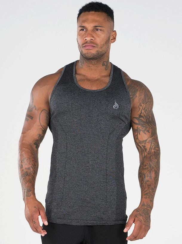 RYDERWEAR SEAMLESS TANK CHARCOAL - ExtremeNutritionSA