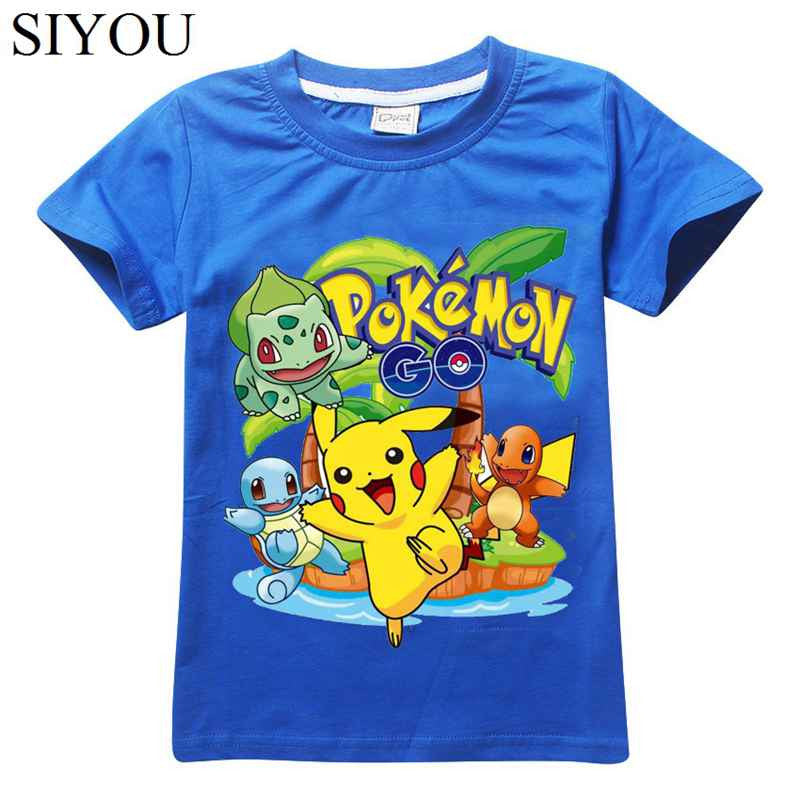 32406669 2Y-10Y Boys Girls Pokemon Go T shrit Kids 100% Cotton T-shirts Short ...